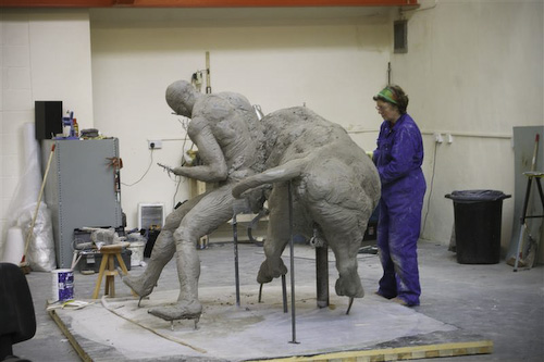 Sculptor Angela Hunter continues work